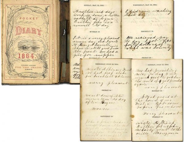 994: 1864 Soldier Diary Maryland Letter CW Civil War