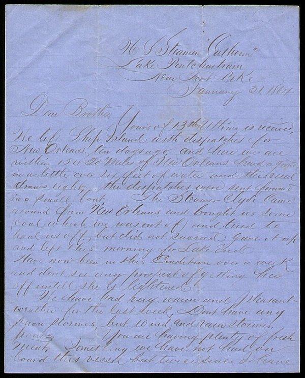 1003: 1864 Soldier Letter CW Naval Battle Civil War ALS