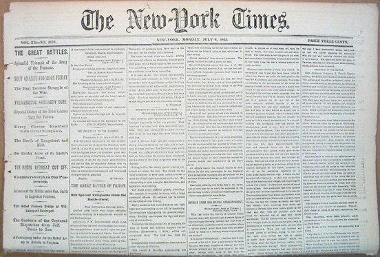 1004: 1863 New York Times Newspaper Gettysburg Civil Wa