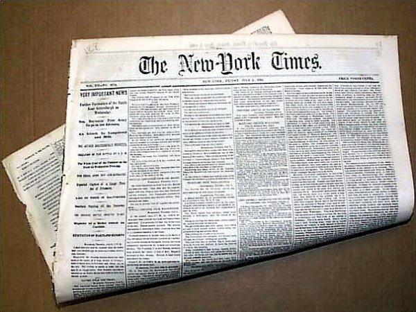 1007: New York Times Newspaper Battle Content Gettysbur