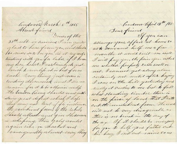 1009: 1865 Letters Soldier CW Andover MA Civil War
