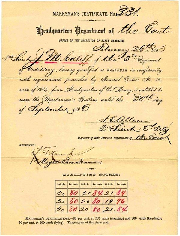 1157: General Hancock Signed Marksman Certificate Civil