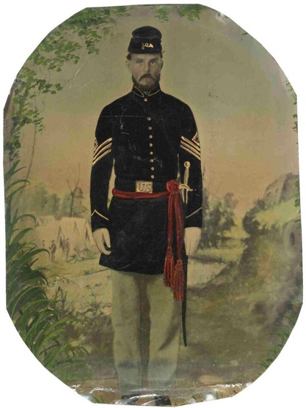 1770: Civil War Full-Plate Painted Tintype Soldier Phot
