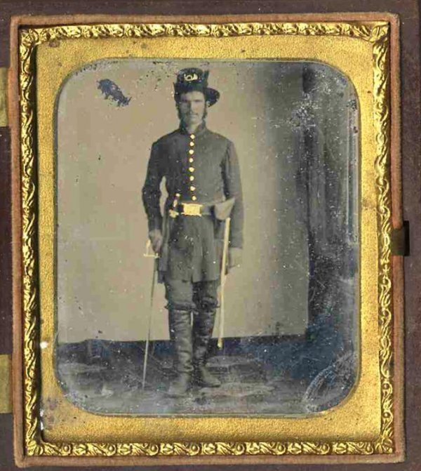 1773: Civil War Tintype Soldier Three Weapons Photograp