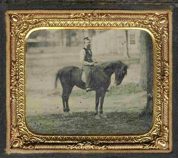1775: Sixth-Plate Ambrotype Yankee Soldier Horse Outdoo