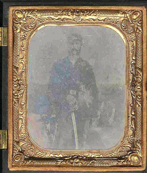 1779: Civil War Sixth-Plate Tintype Soldier Sword Revol