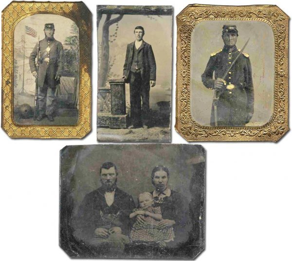 1781: Four Tintypes Soldier Young Old Union Garb Armed