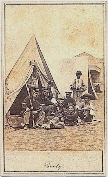 1782: Mathew Brady CDV Union Camp Soldiers 22nd Regt NY
