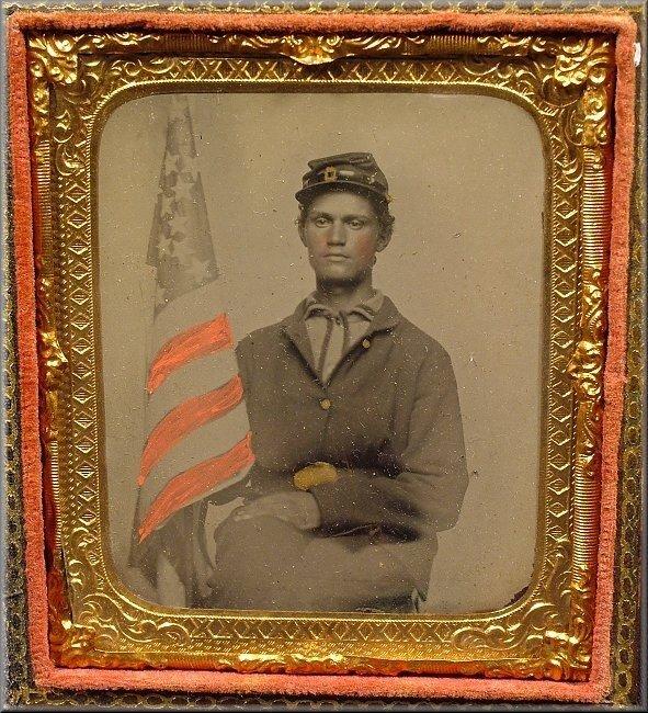1783: Civil War Ambrotype Flag Bearer Hand-Tinted Soldi