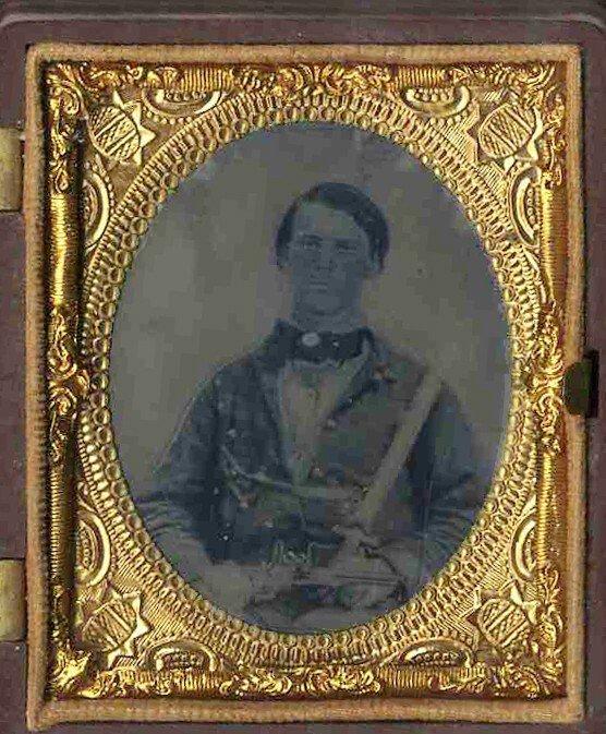1785: Civil War Ninth-Plate Tintype Soldier Fluted Colt
