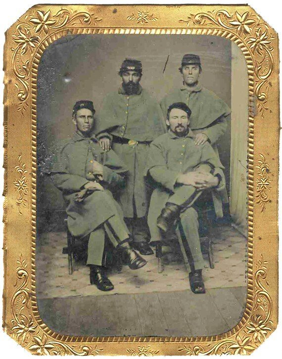 1787: Half-Plate Tintype Four Union Soldiers Photograph