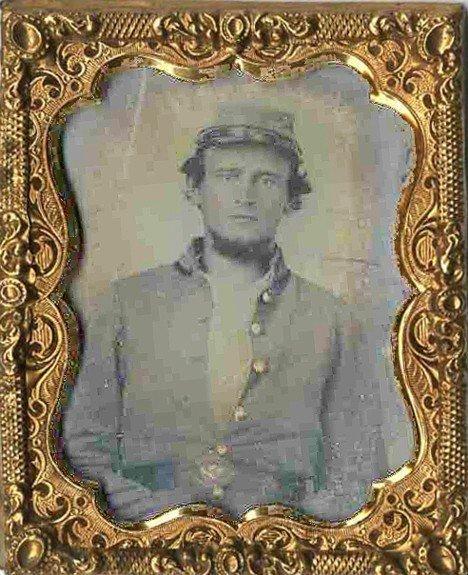 1789: Civil War Tintype Soldier Ornate Metal Frame Phot