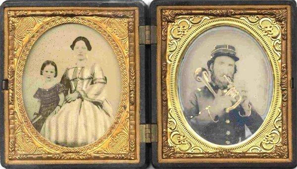 1790: Two Civil War Sixth-Plate Ambrotypes Bandsman Ide