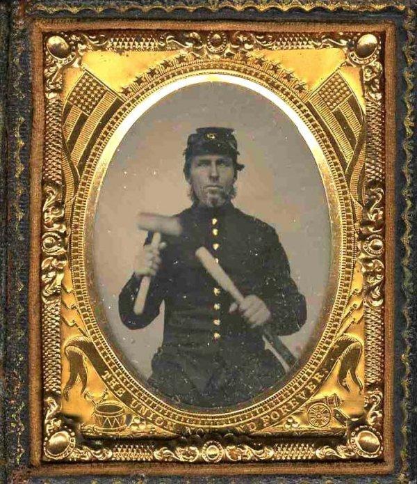 1912: Civil War Tintype Union Soldier Mallet Image Phot
