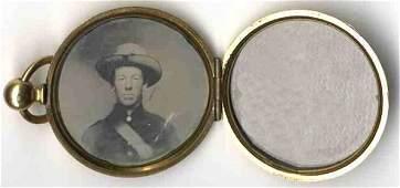 1953 Confederate Civil War Tintype Rare Locket Photo C