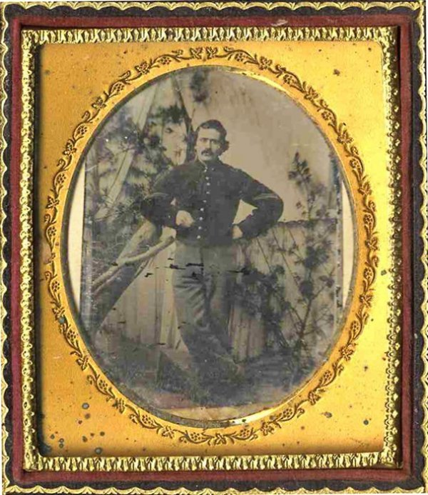 2266: Sixth-Plate Tintype Civil War Soldier Tent Case P