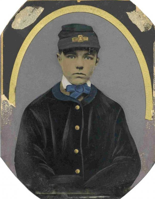 2272: Civil War Full-Plate Tintype Cadet Badge Photogra