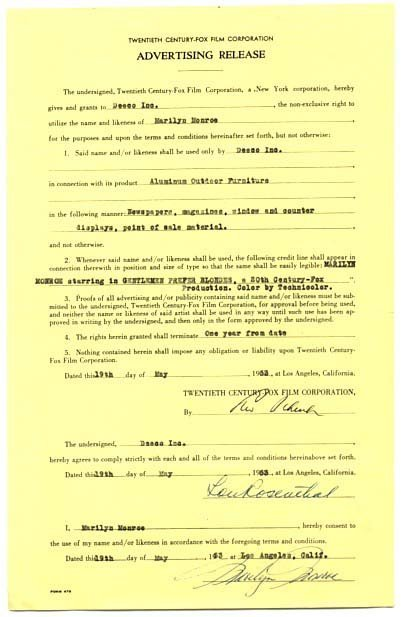 3: Marilyn Monroe Signed Contract Document Signature Si