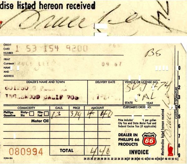 6: Bruce Lee Signed Gas Receipt 1967 ALS California