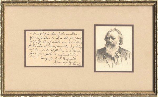 7: 1892 Johannes Brahms Autograph Letter Signed Portrai