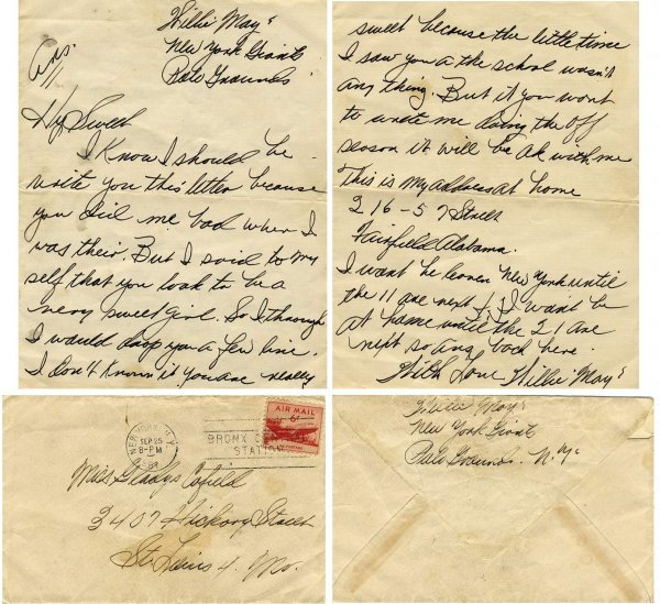 8: Willie Mays Letter autograph 1951 Player Baseball AL