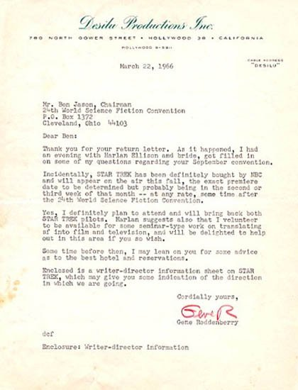 9: Star Trek Letter Gene Roddenberry ALS Signed Founder