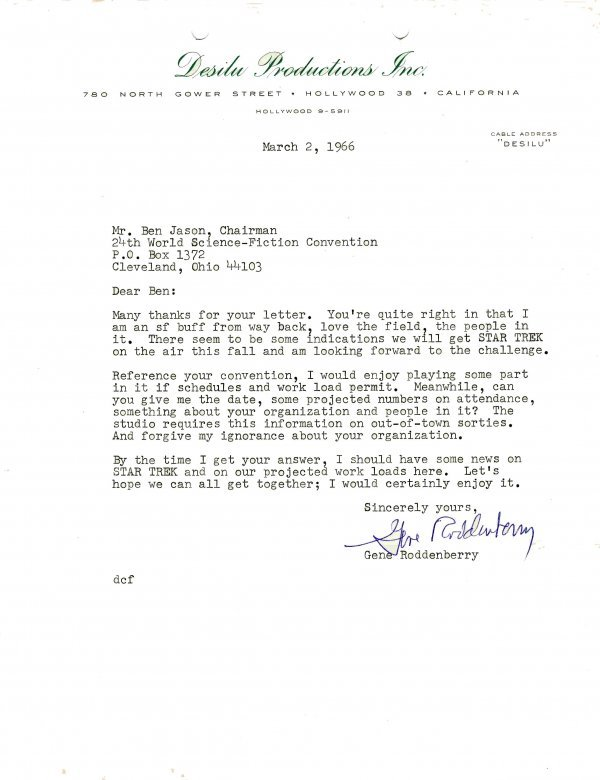 10: Typed Letter Signed Star Trek Founder Gene Roddenbe