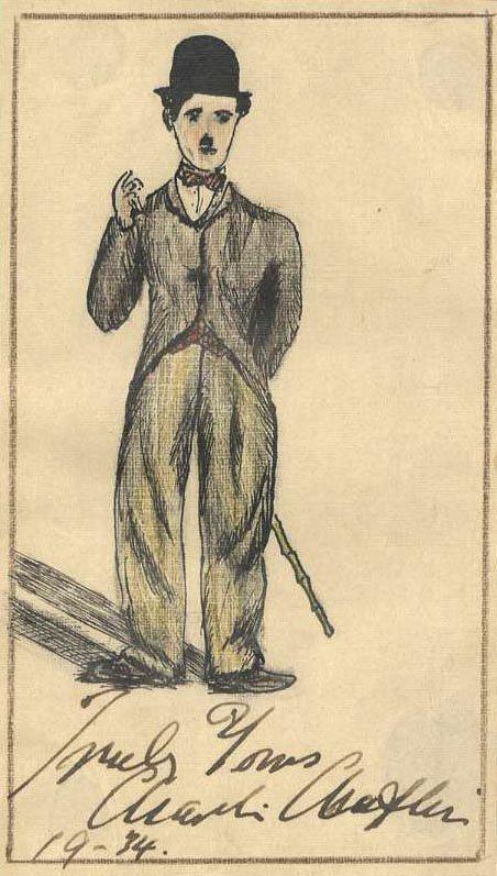 11: Charlie Chaplin Signed Sketch Autographed 1943 ALS
