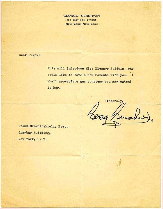 12: George Gershwin Signed Letter Vanity Fair Autograph