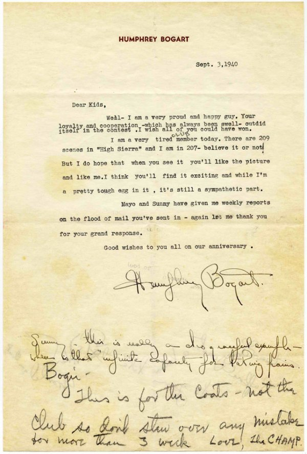15: Humphrey Bogart Typed Letter Signed 1940 High Sierr