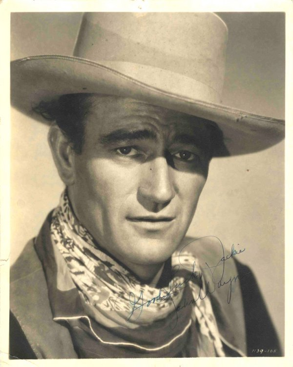 21: John Wayne Signed Photo Cowboy Portrait Duke Autogr