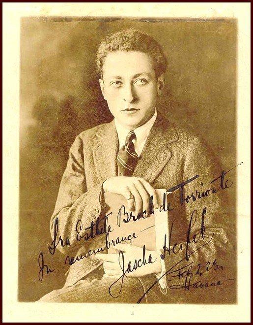 22: Autographed Photo Violinist Jascha Heifetz 1917