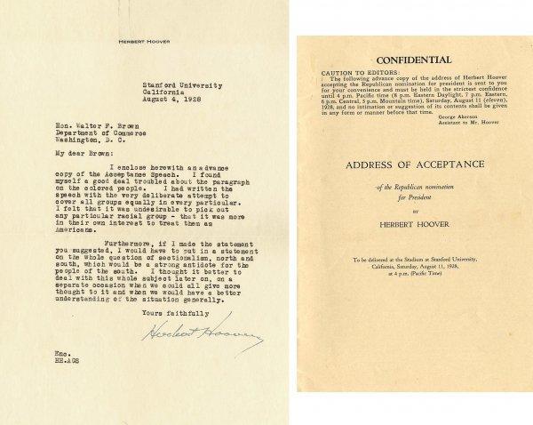 506: Herbert Hoover TLS  Letter Signed Autograph