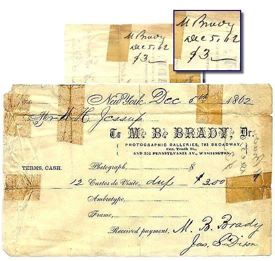 507: 1862 Mathew Brady Signed Photo Autograph