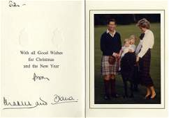 511: Prince Princess Wales Signed Card 1980 Autograph