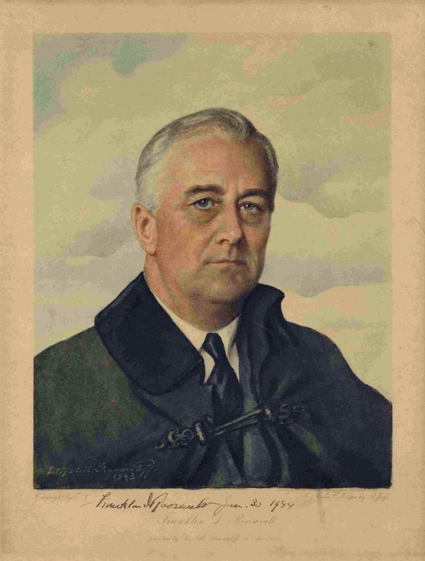 517: Signed Franklin D. Roosevelt Lithograph Autograph