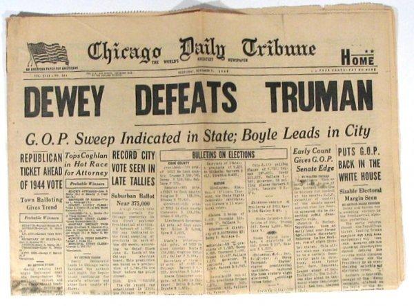 518: Dewey Defeats Truman Headline Newspaper Chicago