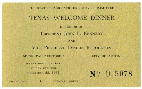 529: President John F. Kennedy Ticket Austin TX