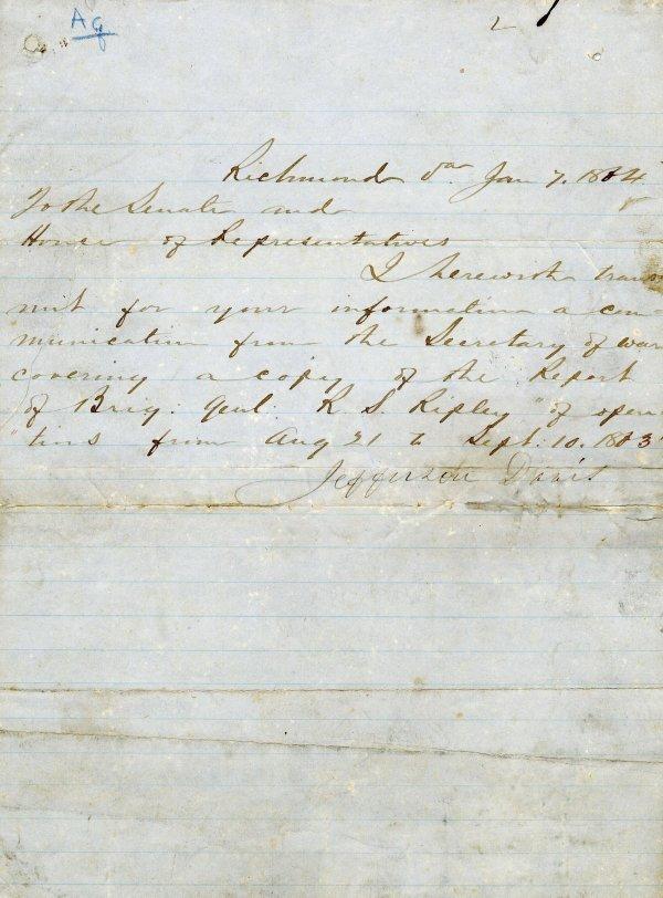 994: Letter Signed Jefferson Davis Civil War LS Confede