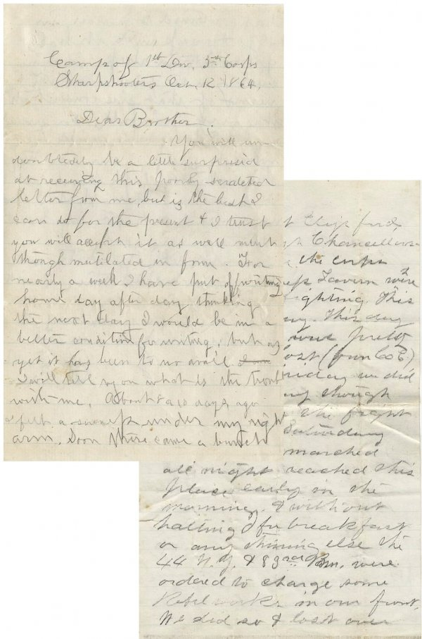 997: Civil War ALS Soldier Letter Signed Spotsylvania U
