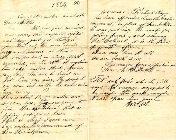 998: Civil War ALS Signature Soldier Letter Signed Dela
