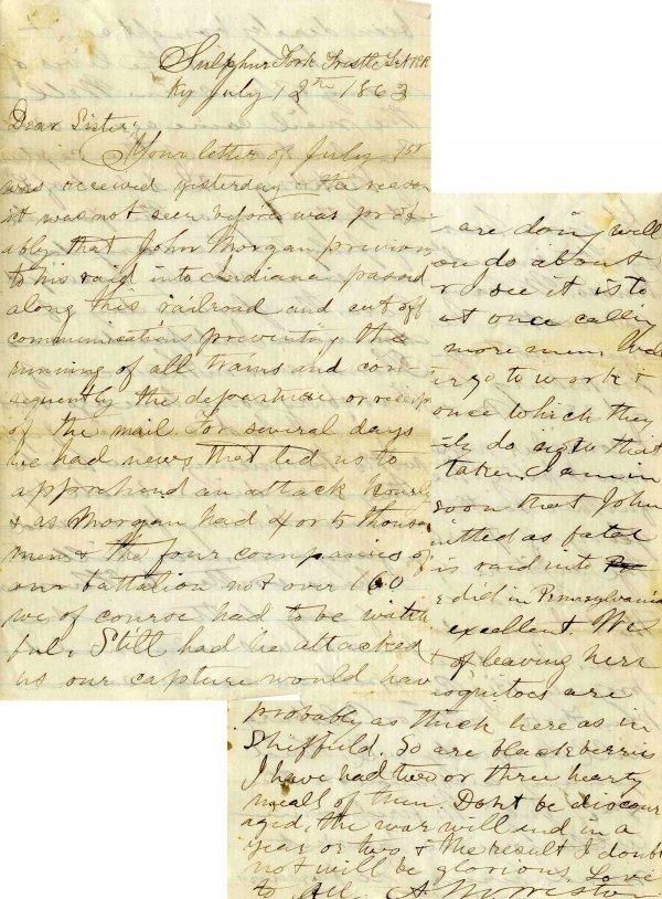999: Civil War ALS Signature Soldier Letter Signed Ohio