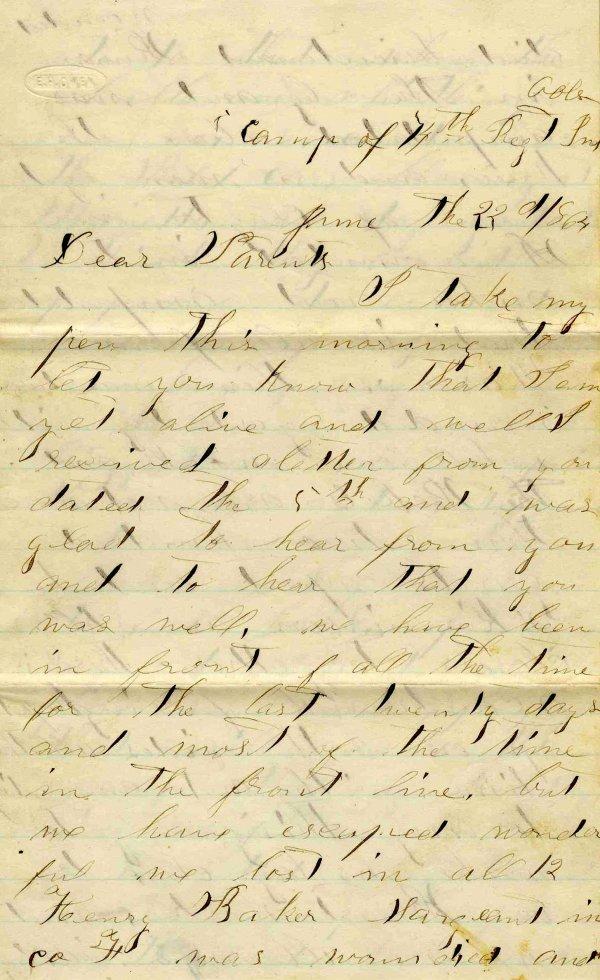 1002: Civil War ALS Soldier Letter Signed Warsaw Virign