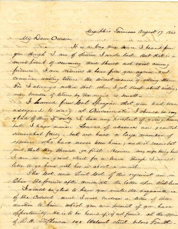 1004: Civil War ALS Letter Signed Lathrop Memphis Tenne