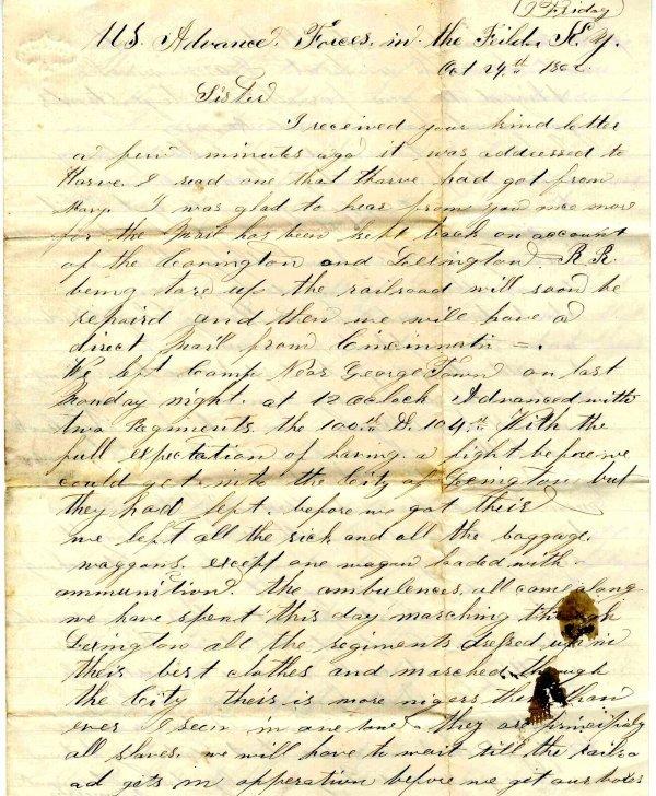 1006: Civil War ALS Soldier Letter Signed Moon Kentucky