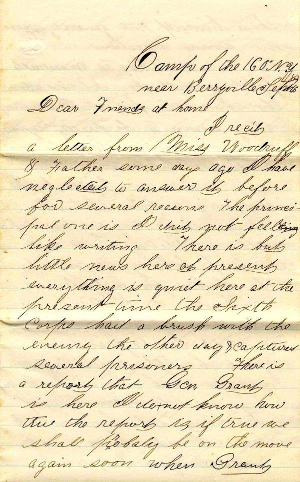 1007: Civil War ALS Soldier Letter Signed Spink New Yor
