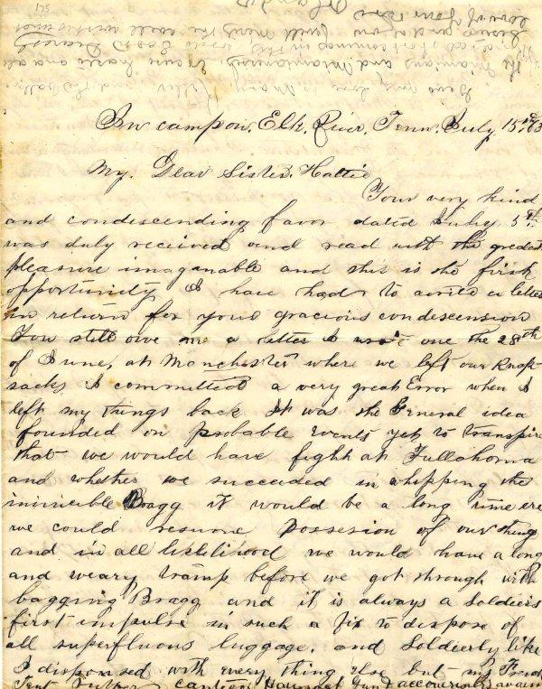 1008: Civil War ALS Signature Soldier Letter Signed Gee