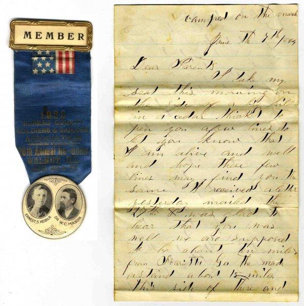 1009: Civil War ALS Soldier Letter Signed Regt Sherman