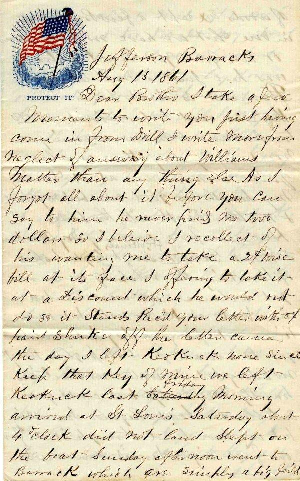 1012: Civil War ALS Soldier Letter Signed Sigler Iowa