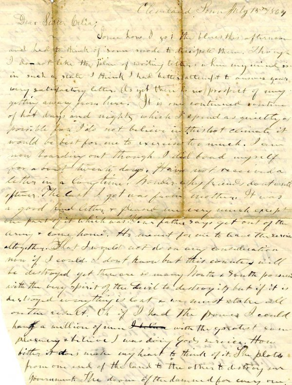 1013: Civil War ALS Soldier Letter Signed Weston Ohio